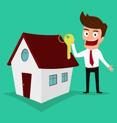 Businessman holding the key of a new home vector