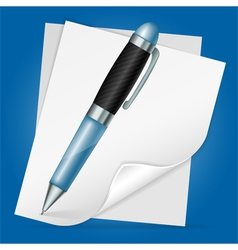 Pen with sheet paper vector