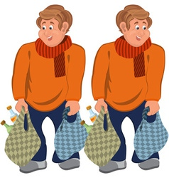 Happy cartoon man standing in orange sweater with vector