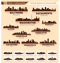 Skyline city set 10 cities of usa 3 vector