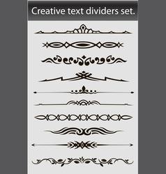 Creative text dividers set vector
