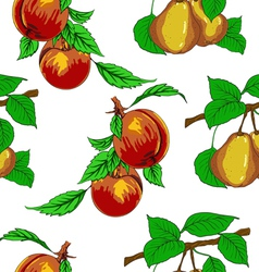 Seamless wallpaper with peaches and pears vector