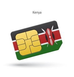 Kenya mobile phone sim card with flag vector