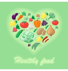 Healthy food concept heart shape vector