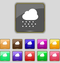 Snowing icon sign set with eleven colored buttons vector