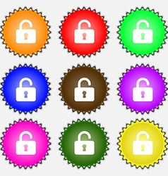 Open padlock icon sign a set of nine different vector