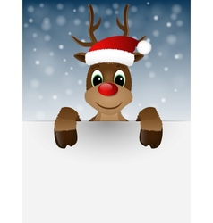 Reindeer with red nose and santa hat vector