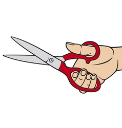 Hand holding scissors vector