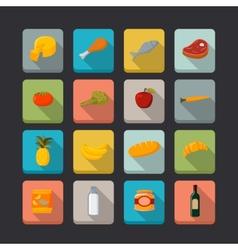 Supermarket foods icons set vector