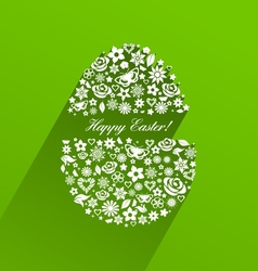Easter egg consisting of white flowers with shadow vector