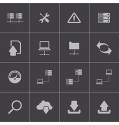 Black ftp icon set vector