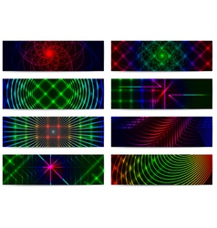 Set of horizontal elegant iridescent banners vector
