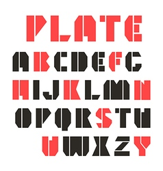 Sans serif stencil plate font and numeral vector