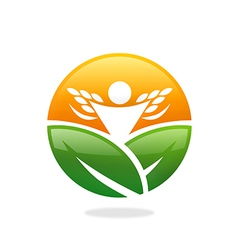 Farm leaf plant people success nature logo vector