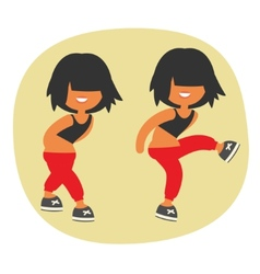 Sporty dancing beautiful teenager girl character vector
