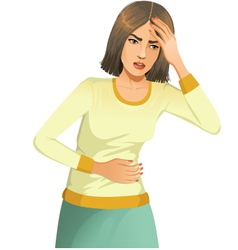 Woman with stomach issues and headache vector