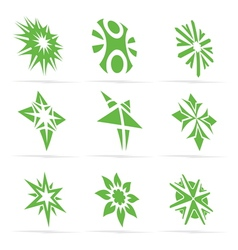 Abstract green symbol set vector