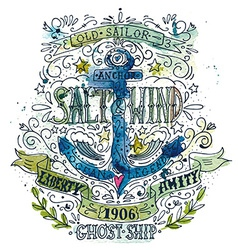 Watercolor vintage label with an anchor vector