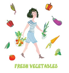 Girl and fresh vegetables card - market vector