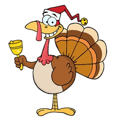 Christmas turkey ringing a bell vector