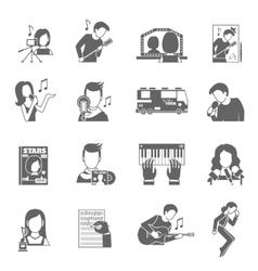 Pop singer icons set vector