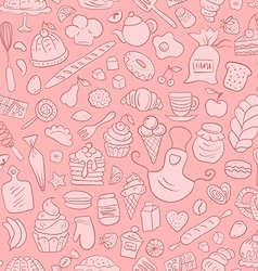 Hand drawn bakery seamless pattern vector