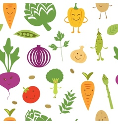 Fun vegetables pattern vector