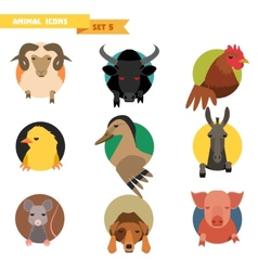 Farm animals avatars vector