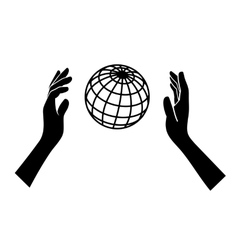 Globe icon with hands on white background vector