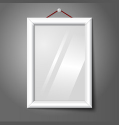 White isolated vertical photo frame hanging on the vector