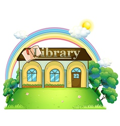A library at the top of the hill vector