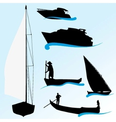 Set of boat silhouettes vector