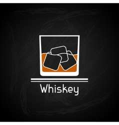 With glass of whiskey for menu cover vector