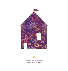 Textured christmas stars house silhouette pattern vector