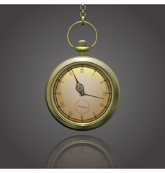 Gold vintage pocket clock on a chain with roman vector