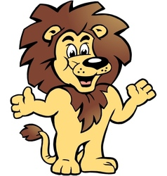 Hand-drawn of an happy proud lion king there vector