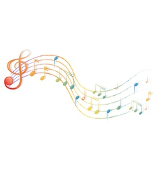 The musical notes and the g-clef vector