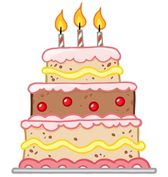 Cake with three candles vector