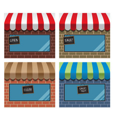 Display window shops with hanging signs vector