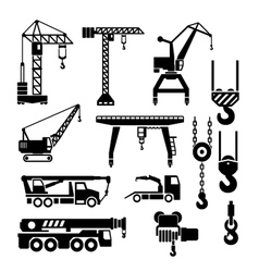 Set icons of crane lifts and winches vector