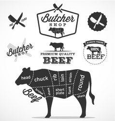 Beef cuts diagram and butchery design elements vector
