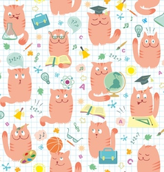 Seamless pattern pink cats vector