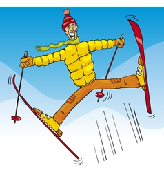Man jump on ski cartoon vector