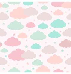 Childish seamless background with clouds and stars vector