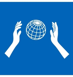 Globe icon with hands on blue background vector