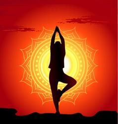 Meditating and doing yoga woman vector