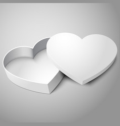 Realistic blank white opened heart shape box vector