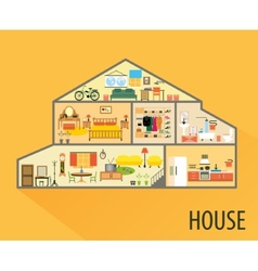 House cartoon interior rooms with furniture vector