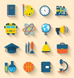 Set of education flat colorful icons with long vector