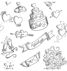 Seamless background with wedding design elements vector